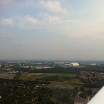 Poznań-Ławica, EPPO, po odlocie z pasa 10, stadion KKS Lech