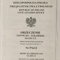 Orzeczenie Lotniczo-Lekarskie z 2013 roku wydane wg norm JAR-FCL 3