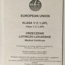 Orzeczenie Lotniczo-Lekarskie z2014 roku wydane wgnorm PART-MED