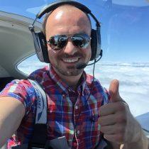Daniel pierwszy raz nad chmurami w samolocie GA.