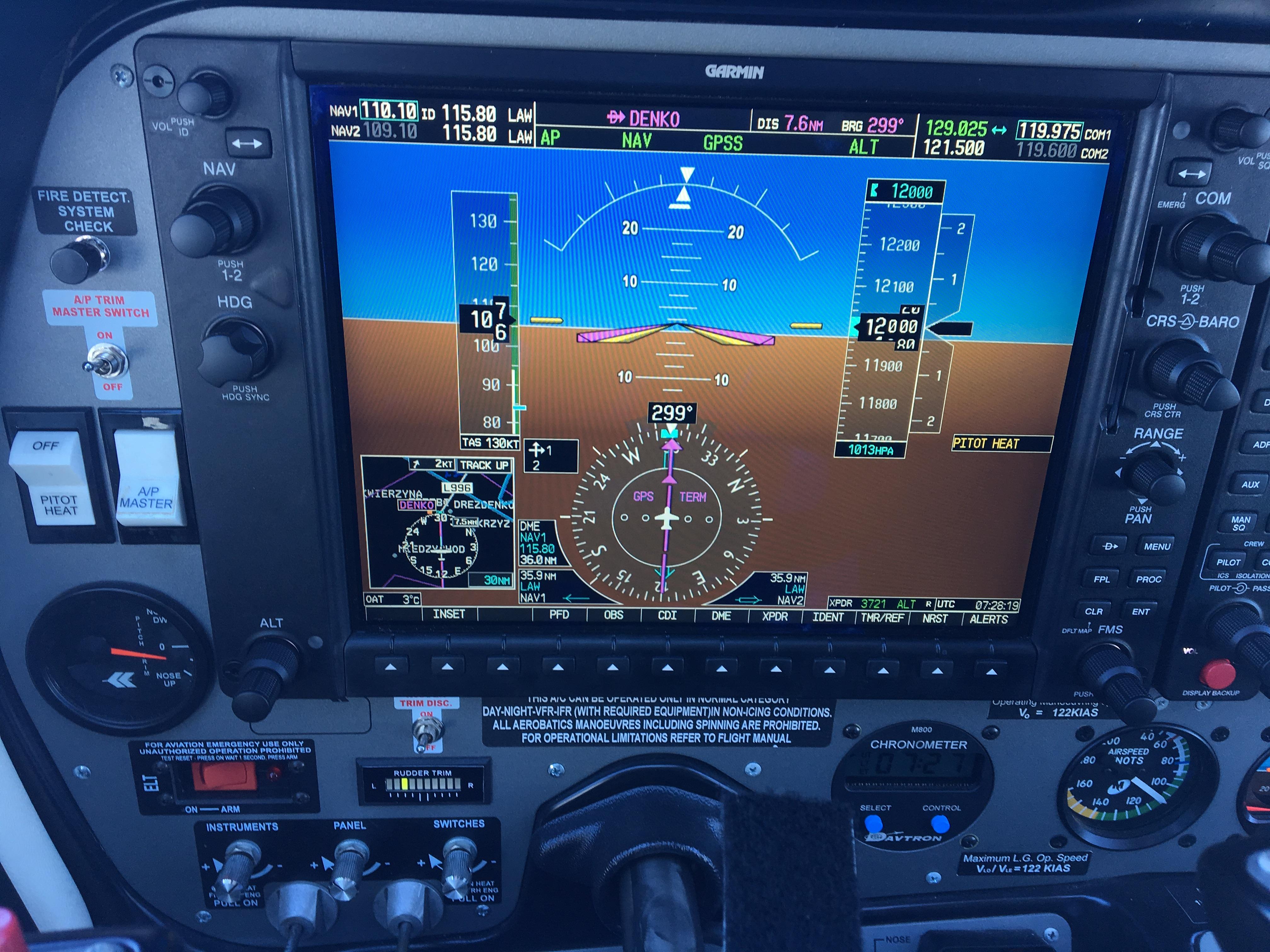 Zdjęcie przedstawia zintegrowany panel przyrządów pilotażowych systemu awionika Garmin G950.
