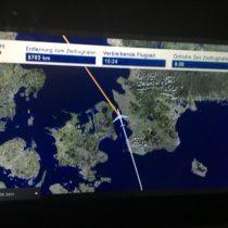 IFE z mapą po odlocie. Skandynawia.