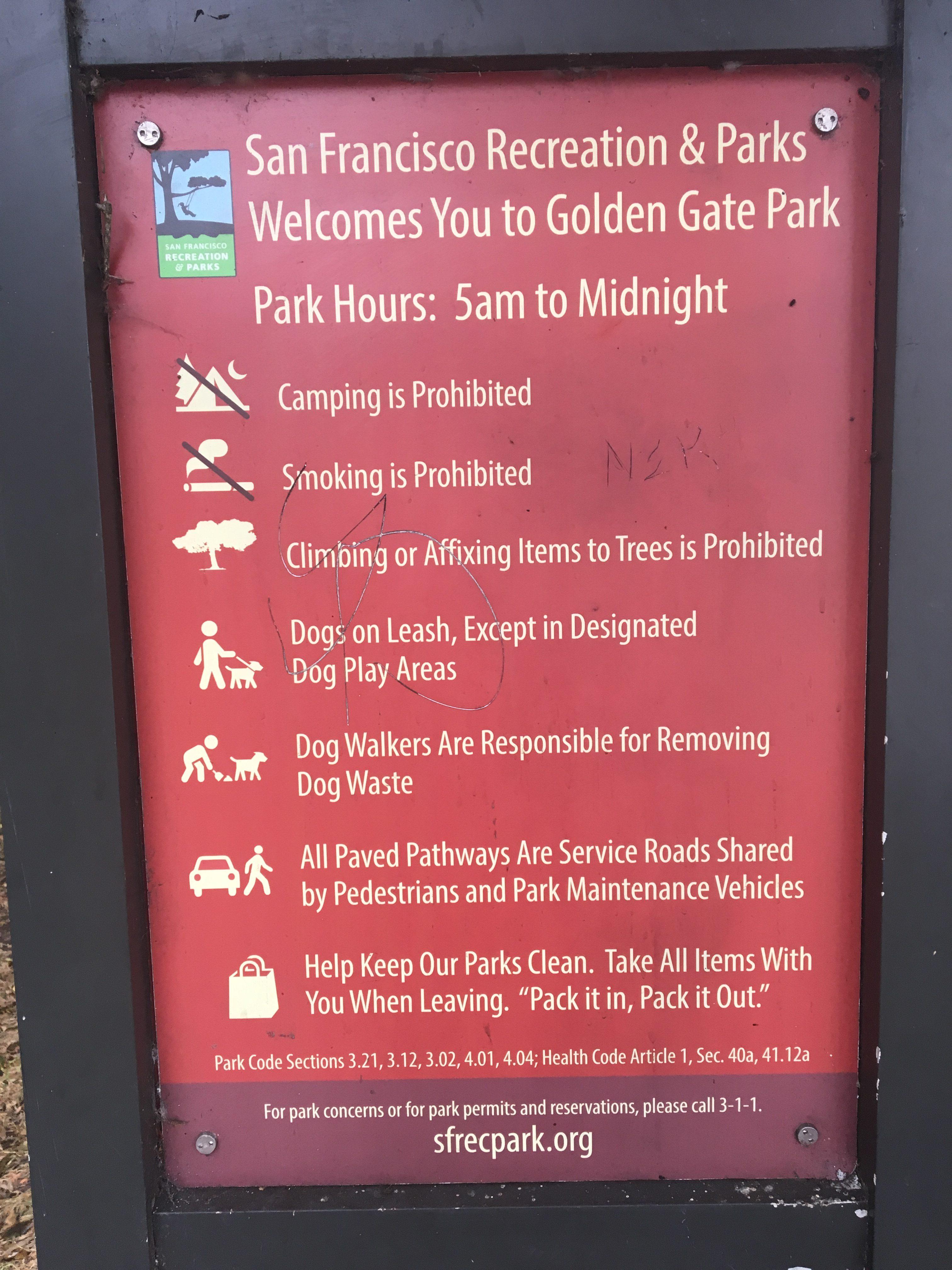 Golden Gate Park, regulamin