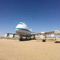 Boeing 747SR-46 - widoczne na grzbiecie mocowania służyły do transportu wahadłowców.